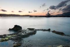 Lighthouse outside Argostoli bay, Kefalonia after sunset.