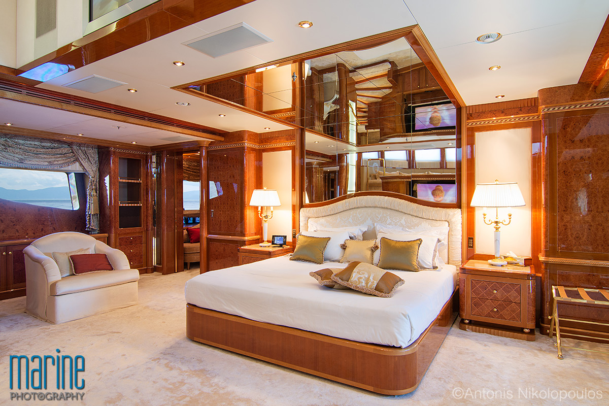 Yacht's master cabin photographed by Antonis Nikolopoulos