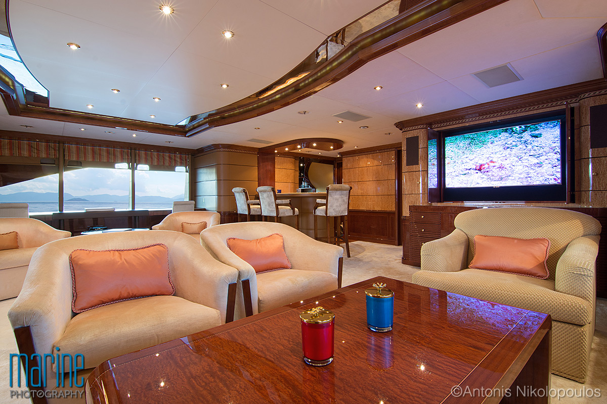 Luxury yacht interior photography, lounge.
