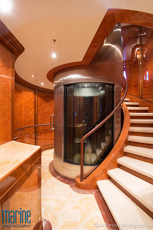 luxury motor yacht photography interior lift