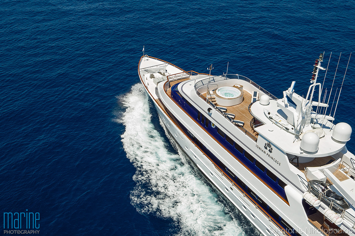 luxuty yacht aerial photography with drone Nikolopoulos