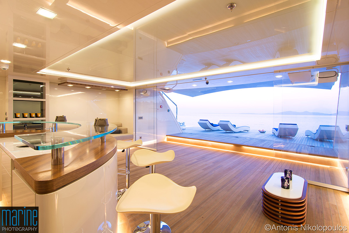 Super yacht OPTASIA beach house