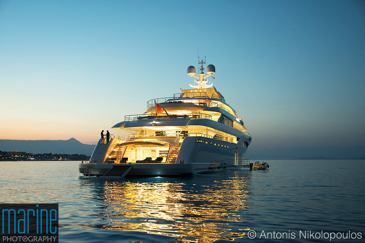 Luxury motor yacht Optasia night shot in Corfu