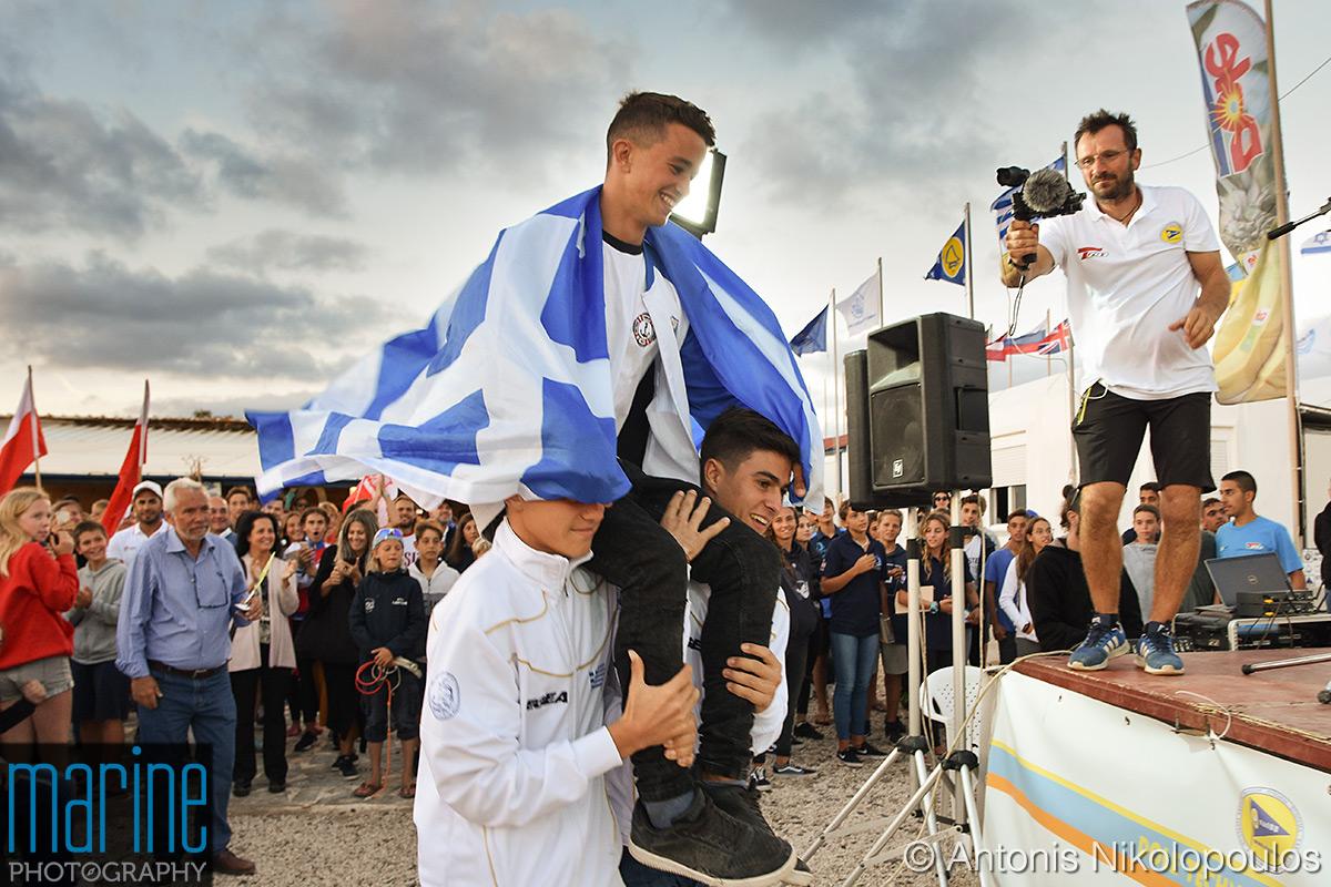 2018 Bic Techno windsurfing European Championship, Varkiza, Greece.