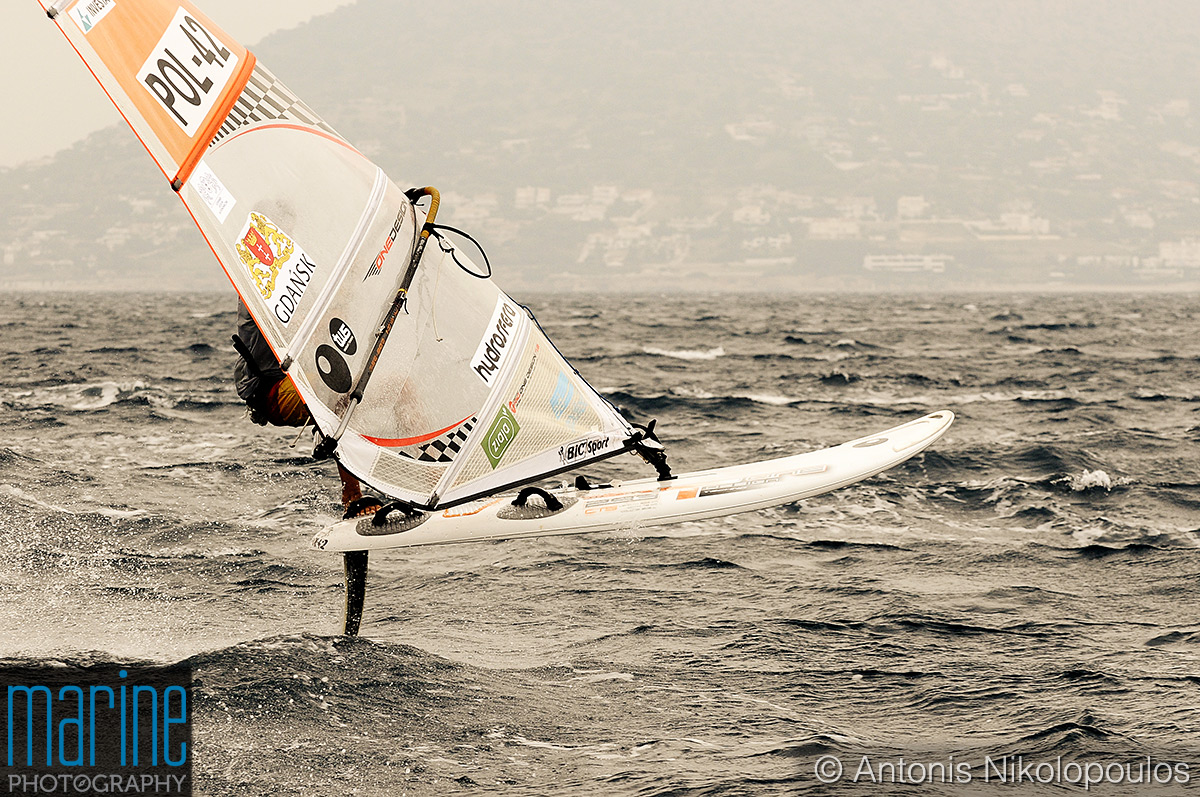 Techno 293 European Championship in Varkiza, Greece. Having fun between two races.