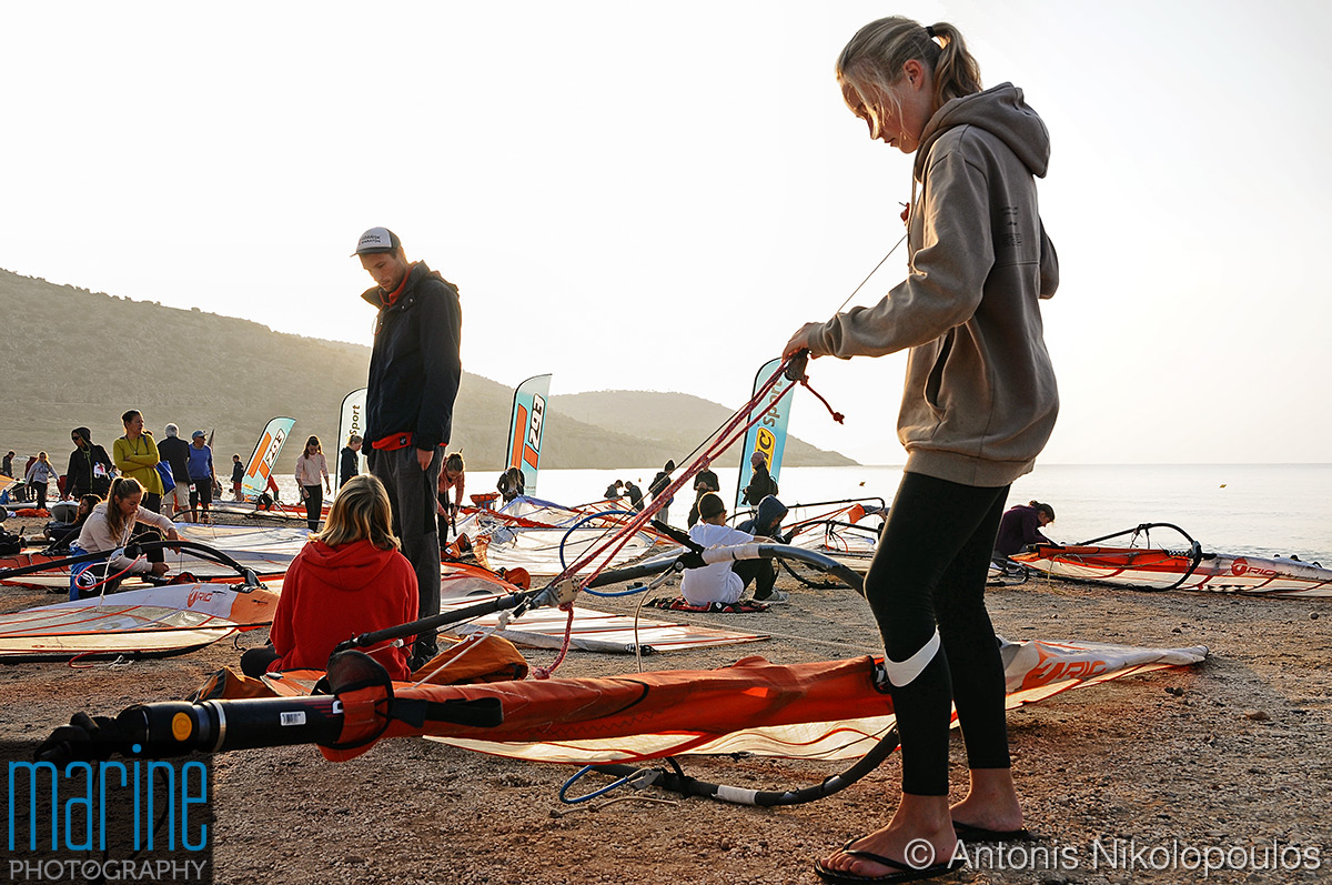 Techno 293 European Championship in Varkiza, Greece. Preparation on shore.