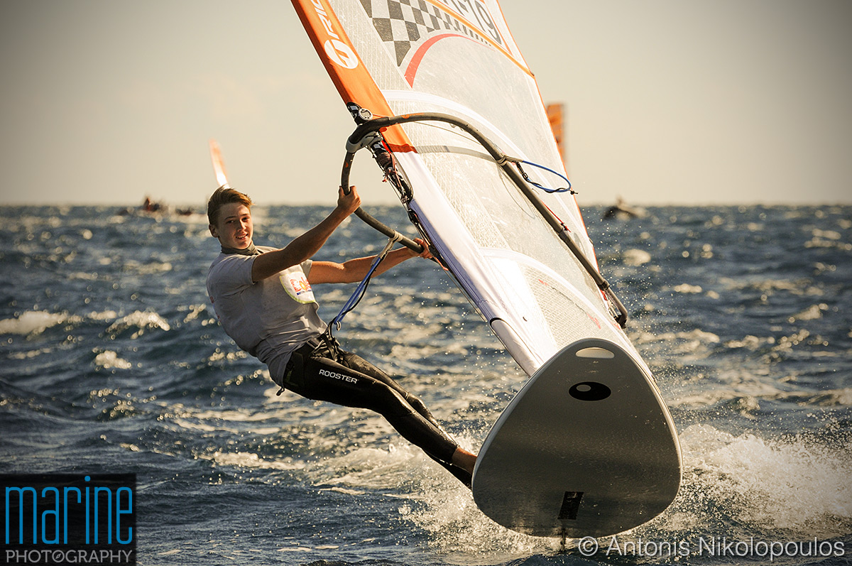 Bic Techno 293, youth boys division (Under 17). High wind racing in Varkiza Greece.