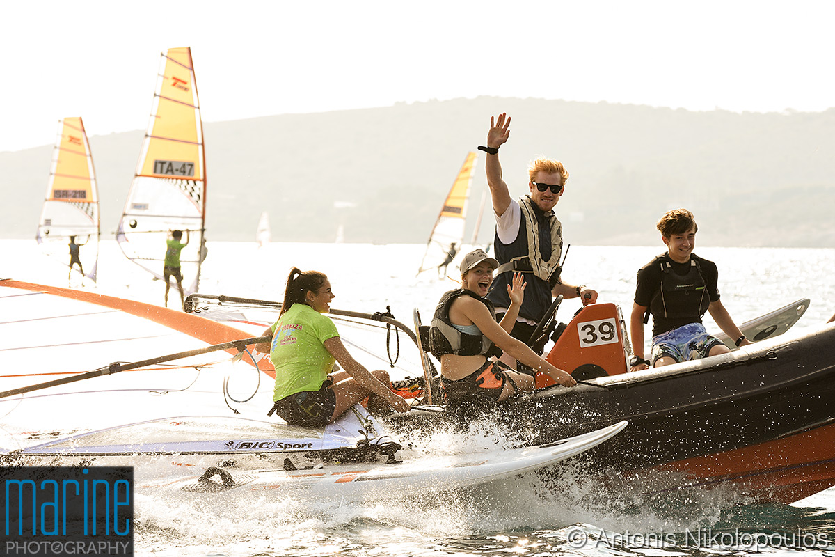 Techno 293 European Championship in Varkiza, Greece. Getting on shore after the practice race, day 0.