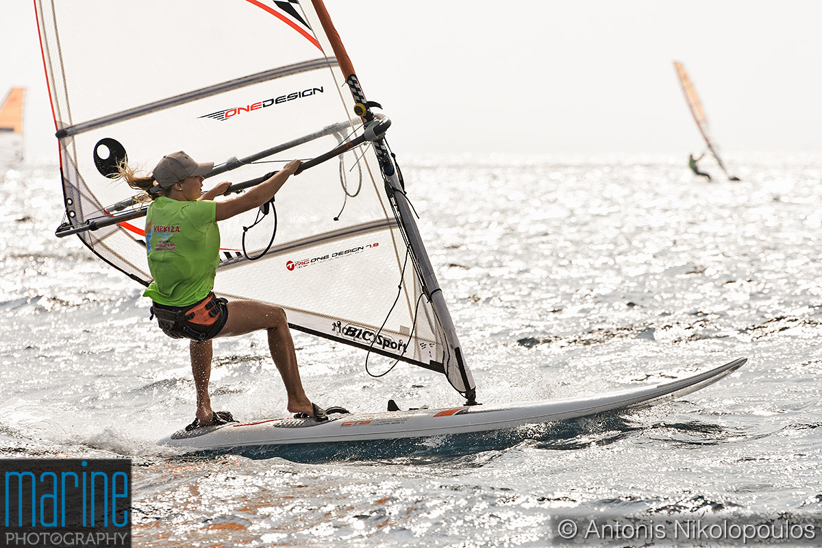 Techno 293 European Championship in Varkiza, Greece. Racing in highwind conditions, Youth Girls division.