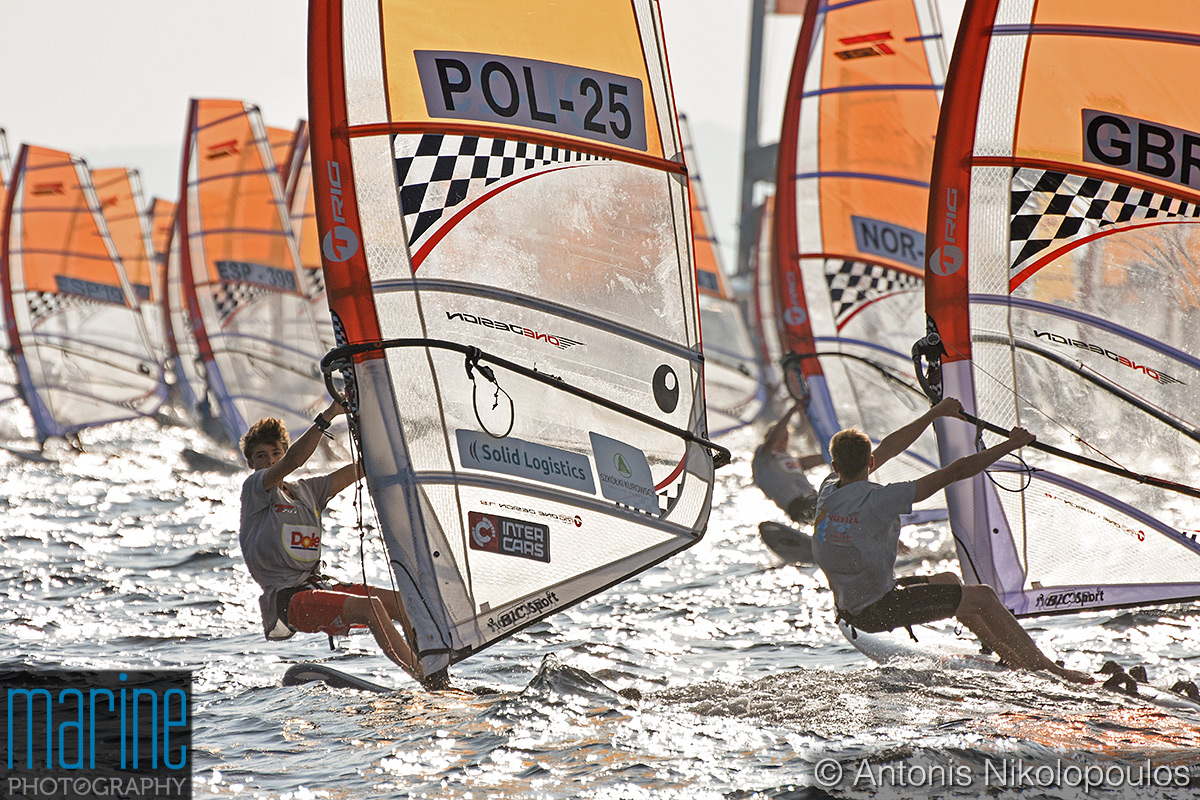 Windsurfing Bic Techno 293 European Championship in Varkiza, Greece. Youth Boys start.