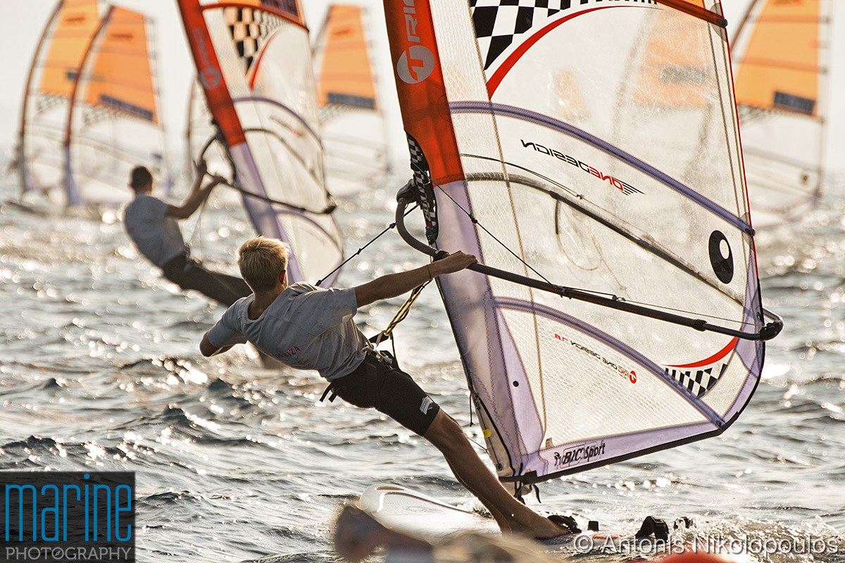Techno 293 European Championship in Varkiza, Greece. After the race start.