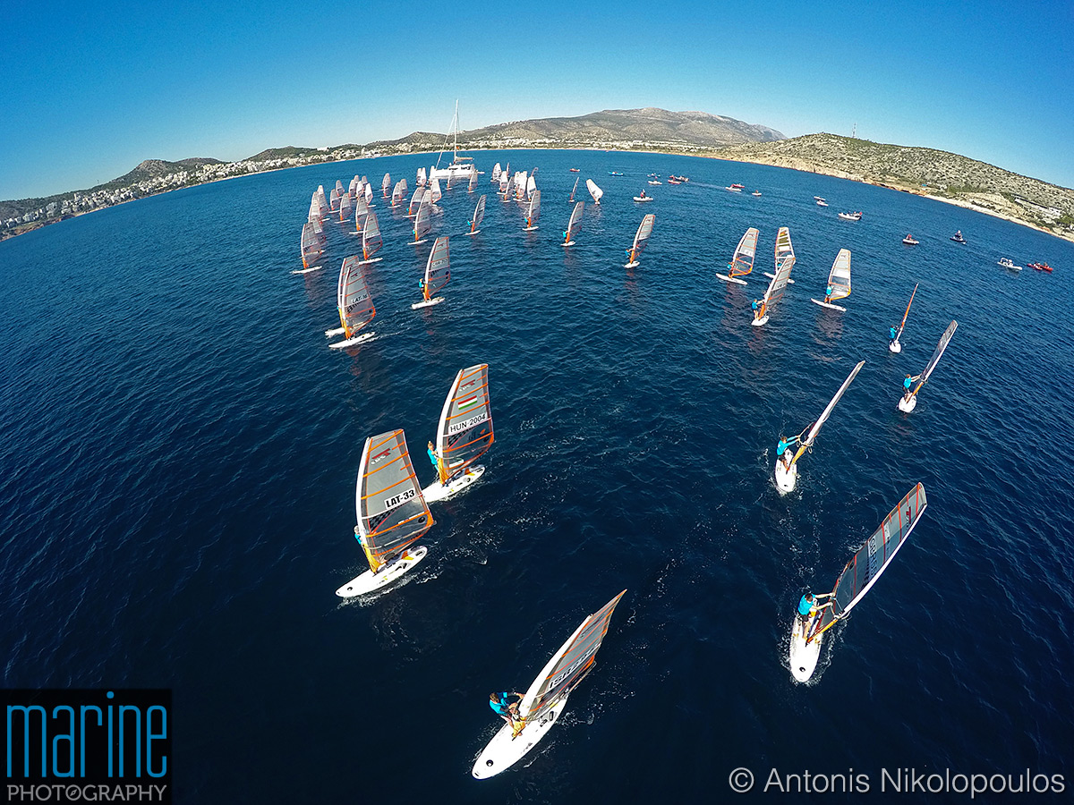 2018 Techno 293 European Championship in Varkiza, Greece. Aerial view from a drone.